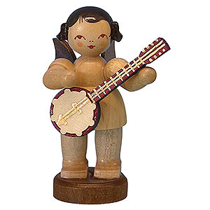 Angels Angels - natural - small Angel with Banjo - Natural Colors - Standing - 6 cm / 2,3 inch
