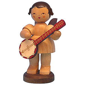 Angels Angels - natural - large Angel with Banjo - Natural Colors - Standing - 9,5 cm / 3,7 inch