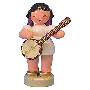 Angels Angels - red wings - small Angel with Banjo - Red Wings - Standing - 6 cm / 2,3 inch