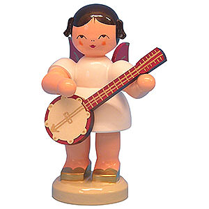 Angels Angels - red wings - large Angel with Banjo - Red Wings - Standing - 9,5 cm / 3,7 inch