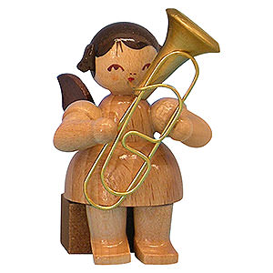 Angels Angels - natural - small Angel with Baritone - Natural Colors - Sitting - 5 cm / 2 inch