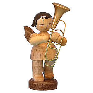 Angels Angels - natural - small Angel with Baritone - Natural Colors - Standing - 6 cm / 2,3 inch