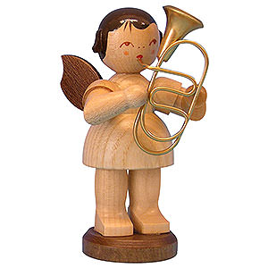 Angels Angels - natural - large Angel with Baritone - Natural Colors - Standing - 9,5 cm / 3,7 inch