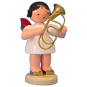 Angels Angels - red wings - large Angel with Baritone - Red Wings - Standing - 9,5 cm / 3,7 inch