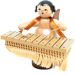 Angels Angels - natural - small Angel with Bass Xylophone - Natural Colors - Standing - 6 cm / 2.4 inch
