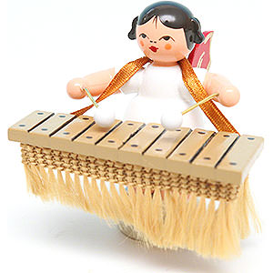 Angels Angels - red wings - small Angel with Bass Xylophone - Red Wings - Standing - 6 cm / 2.4 inch