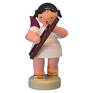 Angels Angels - red wings - small Angel with Bassoon - Red Wings - Standing - 6 cm / 2,3 inch