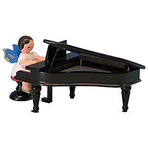Angels Angels - blue wings - small Angel with Black Piano - Blue Wings - Sitting - 6 cm / 2,3 inch