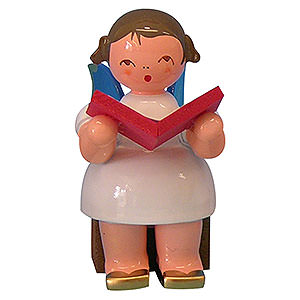 Angels Angels - blue wings - small Angel with Book - Blue Wings - Sitting - 5 cm / 2 inch