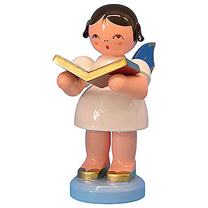 Angels Angels - blue wings - large Angel with Book - Blue Wings - Standing - 9,5 cm / 3,7 inch
