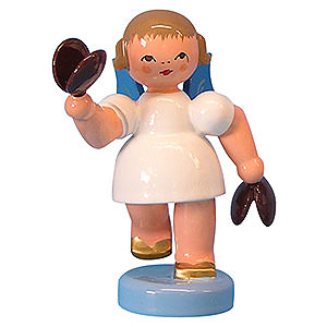 Angels Angels - blue wings - small Angel with Castanets - Blue Wings - Standing - 6 cm / 2,3 inch