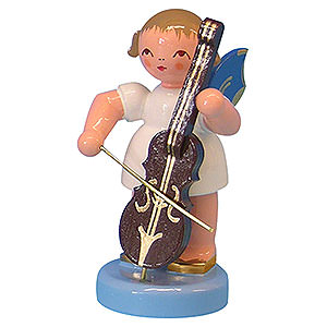 Angels Angels - blue wings - small Angel with Cello - Blue Wings - Standing - 6 cm / 2,3 inch