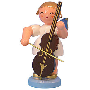 Angels Angels - blue wings - large Angel with Cello - Blue Wings - Standing - 9,5 cm / 3,7 inch