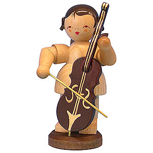 Angels Angels - natural - large Angel with Cello - Natural Colors - Standing - 9,5 cm / 3,7 inch