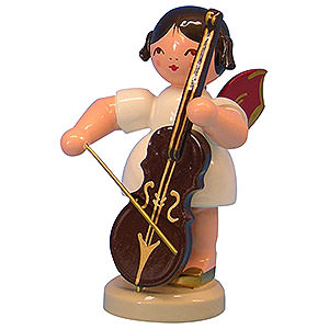 Angels Angels - red wings - large Angel with Cello - Red Wings - Standing - 9,5 cm / 3,7 inch
