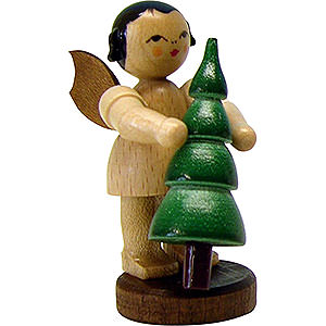 Angels Angels - natural - small Angel with Christmas Tree - Natural- Standing - 6 cm / 2.3 inch