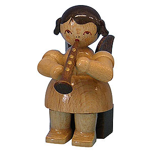 Angels Angels - natural - small Angel with Clarinet - Natural Colors - Sitting - 5 cm / 2 inch