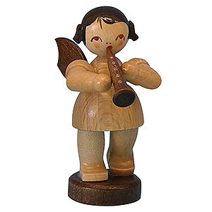Angels Angels - natural - small Angel with Clarinet - Natural Colors - Standing - 6 cm / 2,3 inch