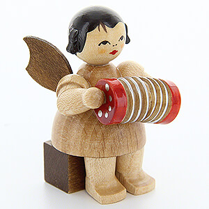 Angels Angels - natural - small Angel with Concertina - Natural Colors - Sitting - 5 cm / 2 inch