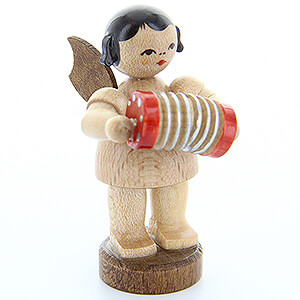 Angels Angels - natural - small Angel with Concertina - Natural Colors - Standing - 6 cm / 2.4 inch