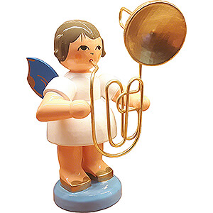 Angels Angels - blue wings - large Angel with Contrabass Trombone - Blue Wings - 9,5 cm / 3.7 inch