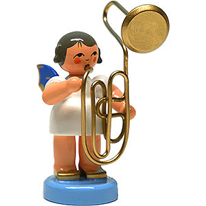Angels Angels - blue wings - large Angel with Contrabass Trombone - Blue Wings - Standing - 6 cm / 2.4 inch