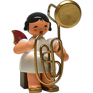 Angels Angels - red wings - large Angel with Contrabass Trombone - Red Wings - Sitting - 6 cm / 2.4 inch
