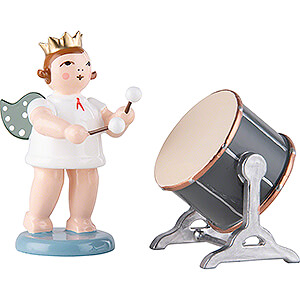 Angels Orchestra with crown (Ellmann) Angel with Crown and Big Orchestra Drum - 6,5 cm / 2.6 inch