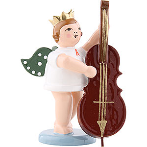 Angels Orchestra with crown (Ellmann) Angel with Crown and Contrabass - 6,5 cm / 2.5 inch