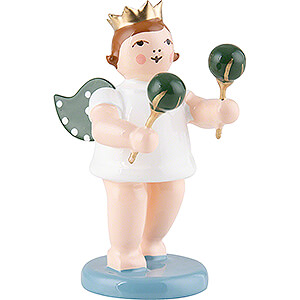Angels Orchestra with crown (Ellmann) Angel with Crown and Maraca - 6,5 cm / 2.5 inch