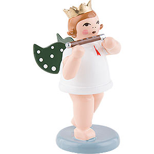 Angels Orchestra with crown (Ellmann) Angel with Crown and Piccolo Flute - 6,5 cm / 2.5 inch