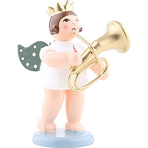 Angels Orchestra with crown (Ellmann) Angel with Crown and Tenor Horn - 6,5 cm / 2.5 inch