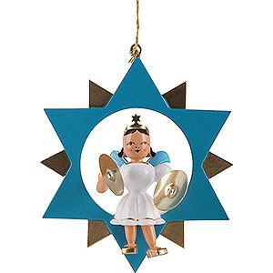 Tree ornaments All tree ornaments Angel with Cymbals in Star, Colored - 9,5 cm / 3.7 inch