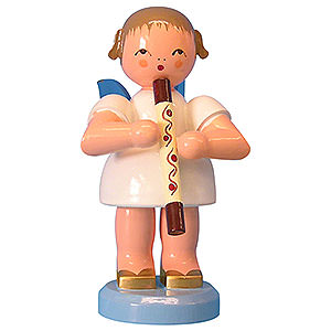 Angels Angels - blue wings - large Angel with Didgeridoo - Blue Wings - Standing - 9,5 cm / 3,7 inch