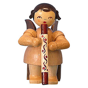Angels Angels - natural - small Angel with Didgeridoo - Natural Colors - Sitting - 5 cm / 2 inch