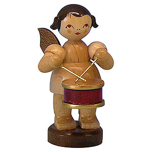 Angels Angels - natural - small Angel with Drum - Natural Colors - Standing - 6 cm / 2,3 inch