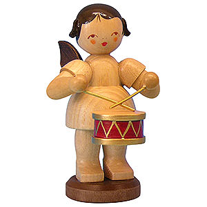 Angels Angels - natural - large Angel with Drum - Natural Colors - Standing - 9,5 cm / 3,7 inch