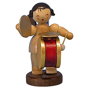 Angels Angels - natural - small Angel with Drum and Cymbal - Natural Colors - Standing - 6 cm / 2,3 inch