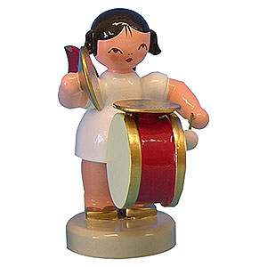 Angels Angels - red wings - small Angel with Drum and Cymbal - Red Wings - Standing - 6 cm / 2,3 inch