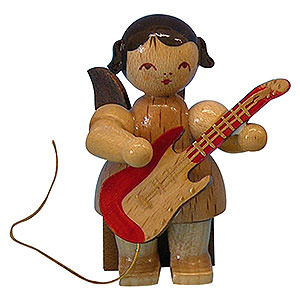 Angels Angels - natural - small Angel with Electric Guitar - Natural Colors - Sitting - 5 cm / 2 inch