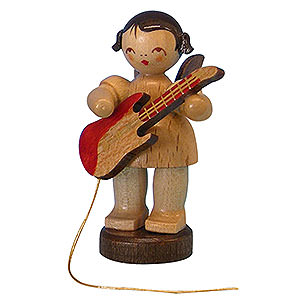 Angels Angels - natural - small Angel with Electric Guitar - Natural Colors - Standing - 6 cm / 2,3 inch