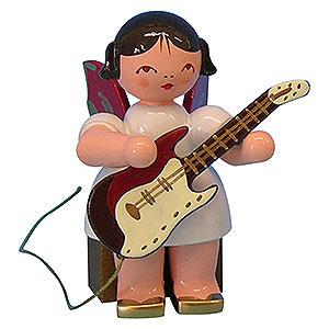 Angels Angels - red wings - small Angel with Electric Guitar - Red Wings - Sitting - 5 cm / 2 inch