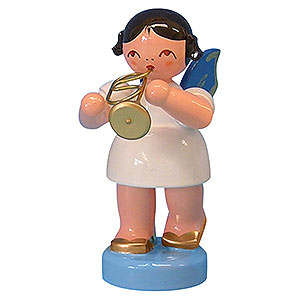 Angels Angels - blue wings - small Angel with Flugelhorn - Blue Wings - Standing - 6 cm / 2,3 inch