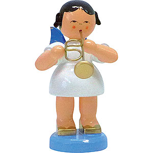 Angels Angels - blue wings - large Angel with Flugelhorn - Blue Wings - Standing - 9,5 cm / 3.7 inch