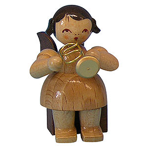 Angels Angels - natural - small Angel with Flugelhorn - Natural Colors - Sitting - 5 cm / 2 inch
