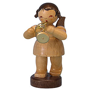 Angels Angels - natural - small Angel with Flugelhorn - Natural Colors - Standing - 6 cm / 2,3 inch