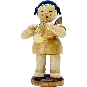 Angels Angels - natural - large Angel with Flugelhorn - Natural Colors - Standing - 9,5 cm / 3.7 inch