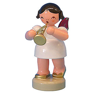Angels Angels - red wings - small Angel with Flugelhorn - Red Wings - Standing - 6 cm / 2,3 inch