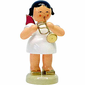 Angels Angels - red wings - large Angel with Flugelhorn - Red Wings - Standing - 9,5 cm / 3.7 inch