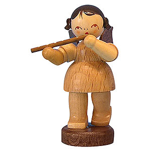 Angels Angels - natural - small Angel with Flute - Natural Colors - Standing - 6 cm / 2,3 inch